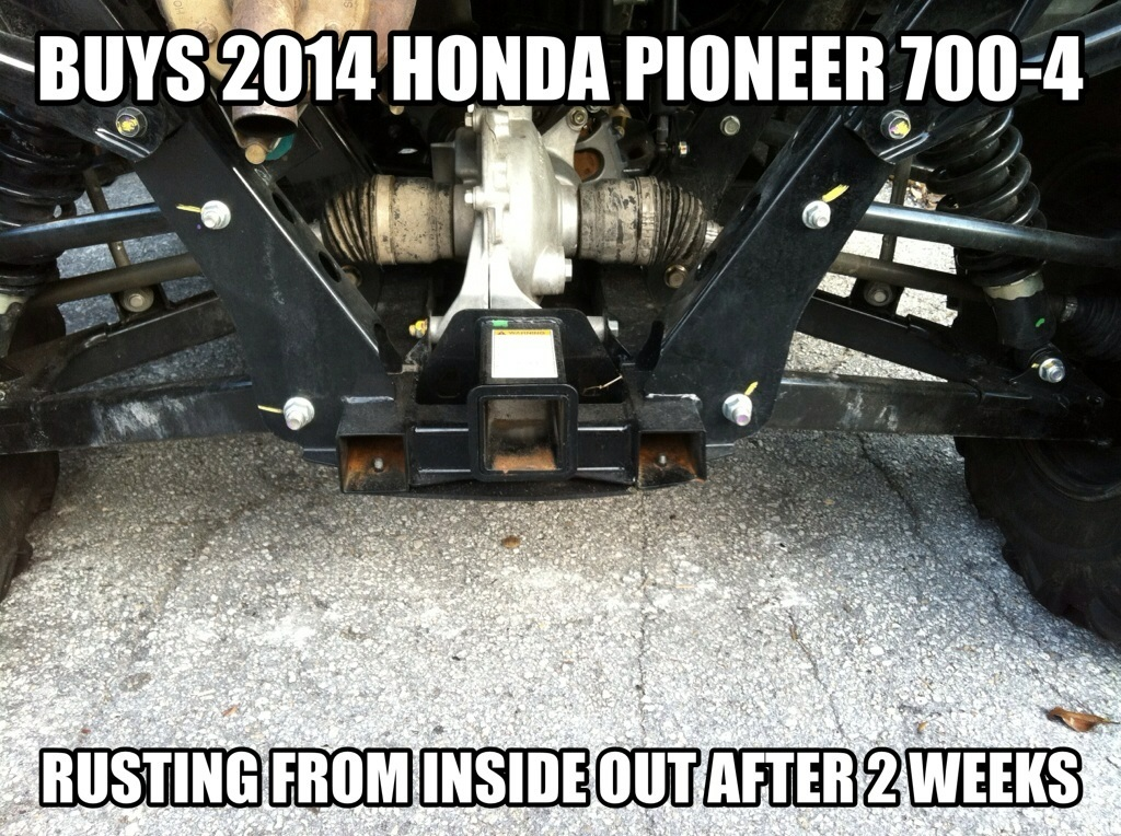 mattamus1 albums my+new+pioneer++rusting+after+2+weeks%21%21 picture649 purchased nov 21 2013 rusting frame rails before dec 3 i havent even made first payment yet honda says its not problem my 2 week old pioneer is rusting already page 2 honda pioneer